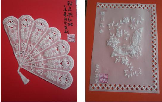 张凤英衍纸作品《福字》《可爱的小女孩》 她的作品大都取材于汉族传统的吉祥文化,寓意深远,表达了对美好生活的向往,寄托着祈福和希望,体现了中国传统文化的特有内涵。一门诞生于西方的古老艺术,在二十一世纪的今天,在张凤英女士手中得以发扬光大,焕发出新的生机,不仅成为装点美化人们生活的艺术珍品,而且成为传承文明、宏扬传统道德文化,推动社会主义精神文明建设的一种重要载体,这恐怕是许多人所没有想到的。 张凤英创作的纸蕾丝作品《雍州八景》,精美的图案和精致的手工无不让人叹为观止,赞不绝口。凤翔,古称雍州。唐时府控八县
