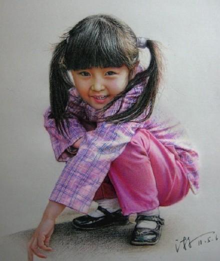 彩铅人物画漂亮天真小女孩