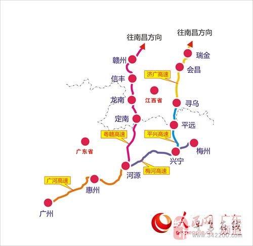 与长深高速公路粤境梅州西环段相接,经梅县大坪镇,平远长田镇,终点至