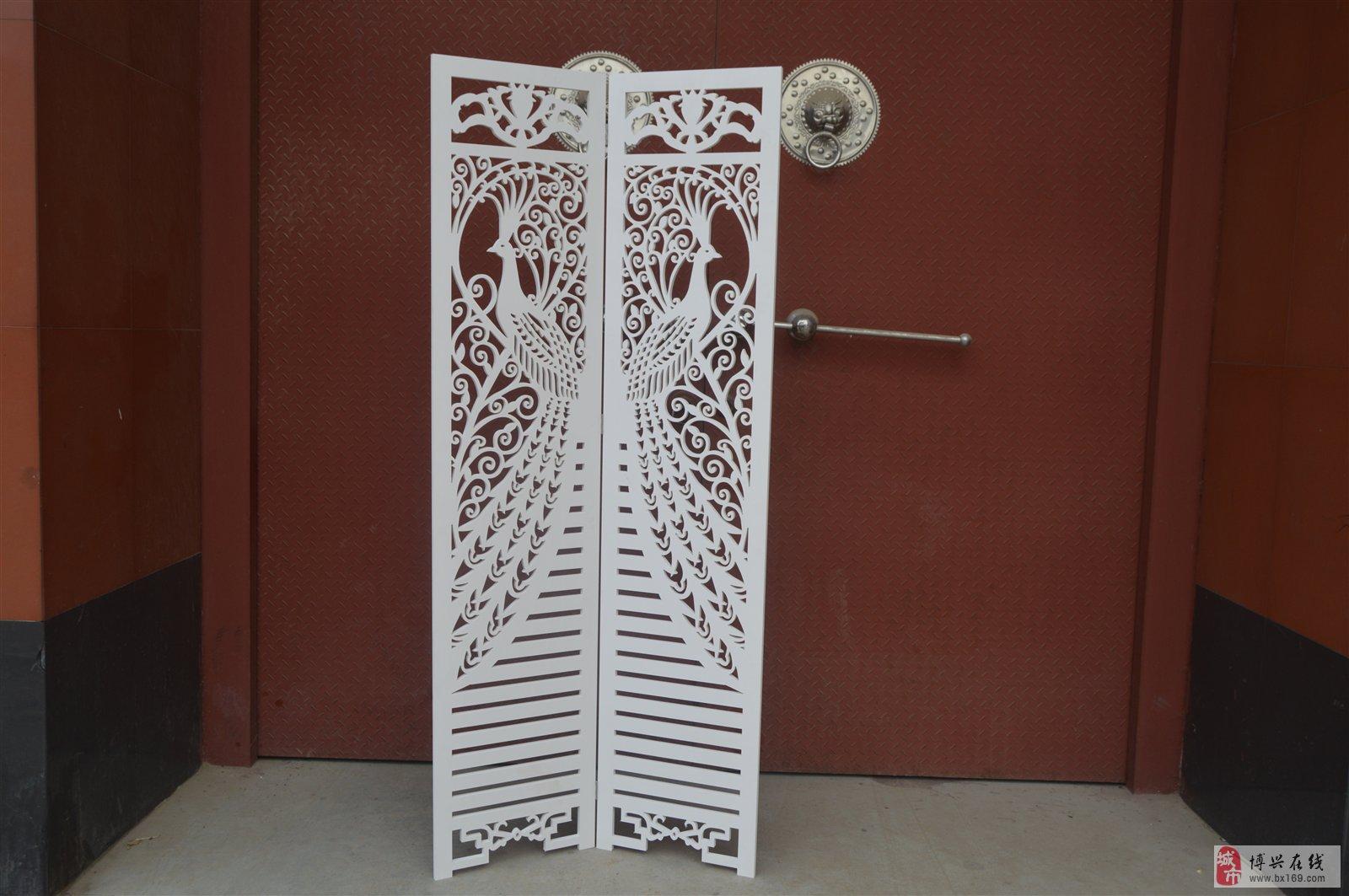 玄关时尚客厅白色雕花折叠屏风镂空蝴蝶屏风 15306496309