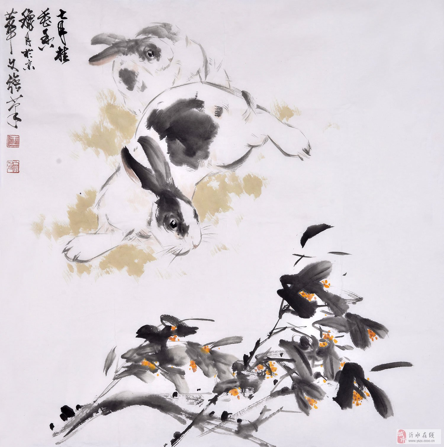 王文强四尺斗方动物画作品兔子《七月桂花香》