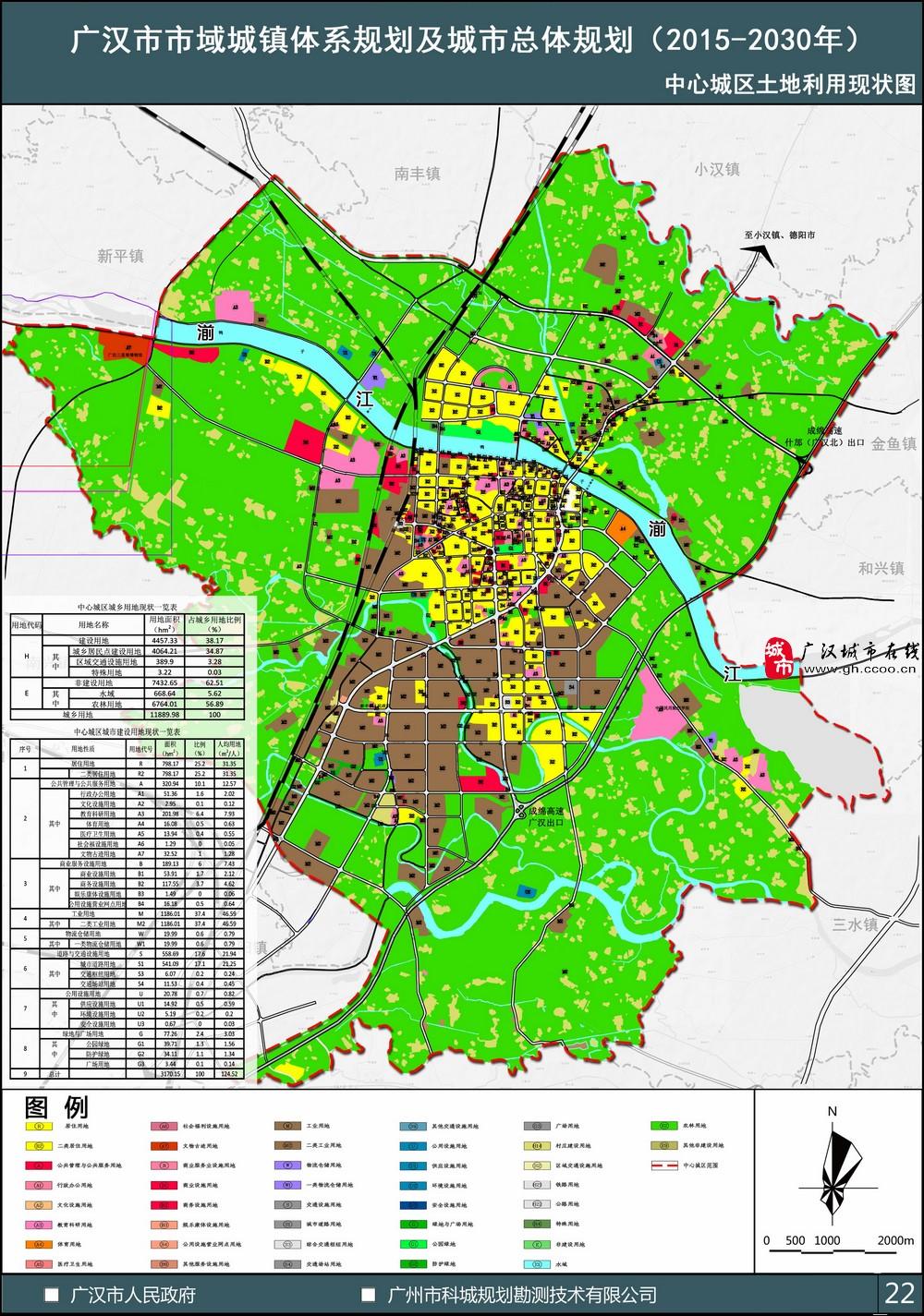 中心城区土地利用现状图——广汉市市域城镇体系规划及城市总体规划