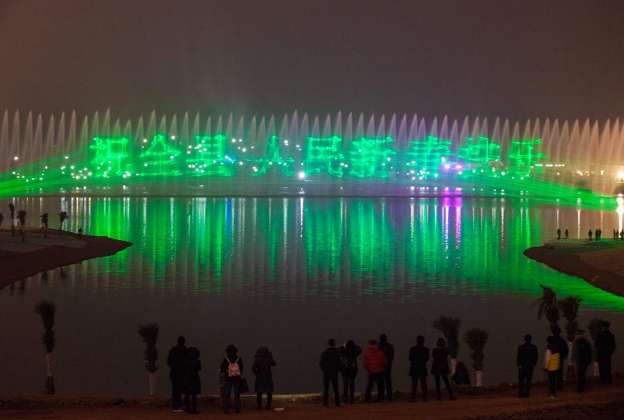 百万仁寿儿女期待已久的城市湿地音乐喷泉盛大开启醉美画面亮爆眼球