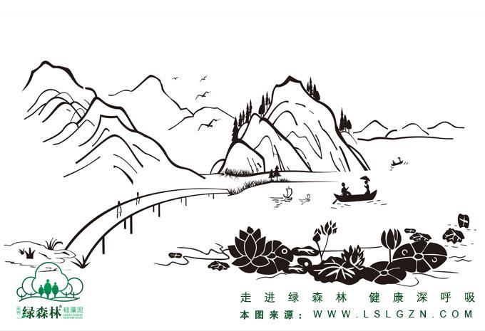 深林风景简笔画
