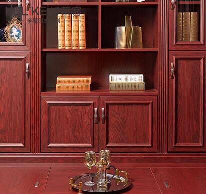 好莱客凯撒红定制升降书桌榻榻米古典榻榻米书柜组合