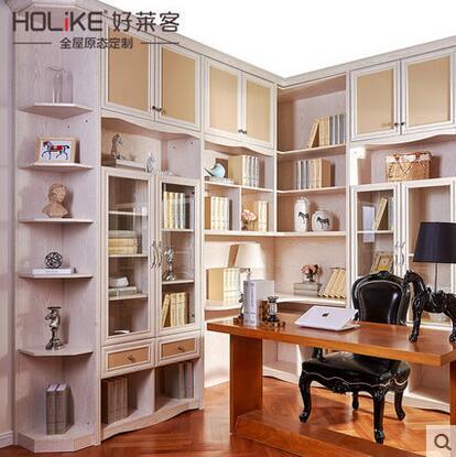 好莱客巴黎风尚法式多功能书房定制书柜书桌组合设计