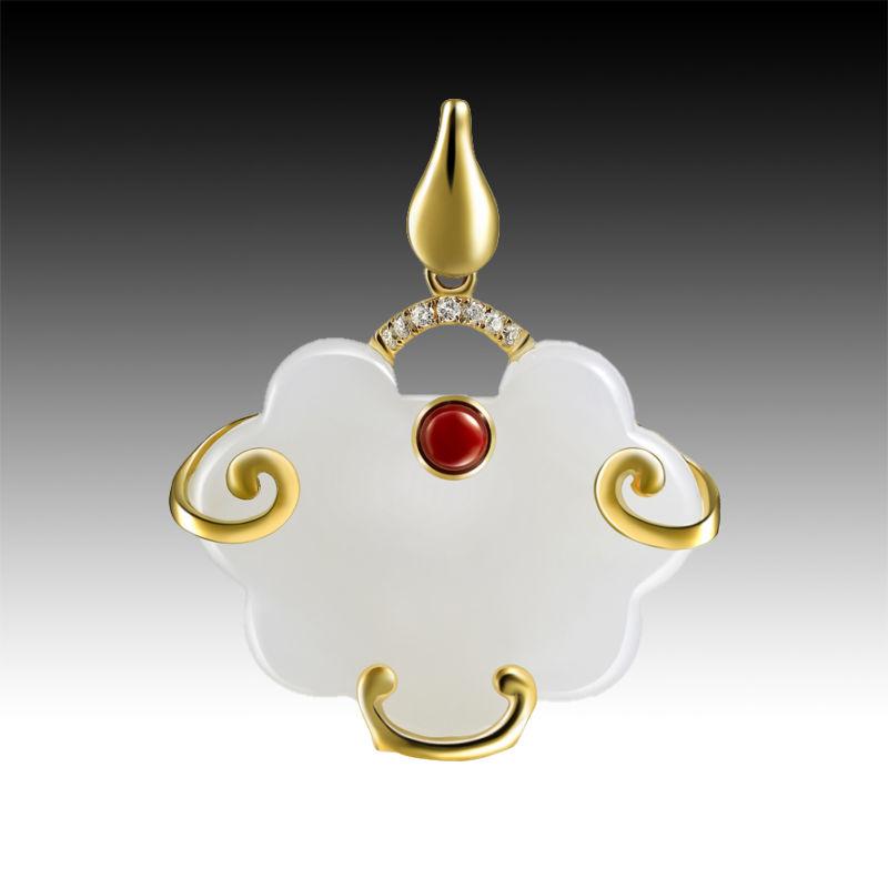 与18k玫瑰金完美结合,线条柔美,古典婉约的气质象征着富贵如意,长命