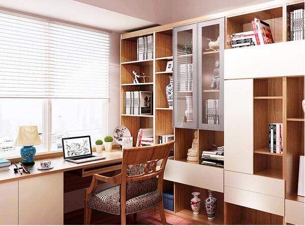 索菲亚书房成套家具定制榻榻米整体书柜飘窗书桌