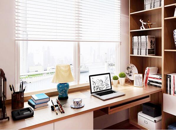 索菲亚书房成套家具定制榻榻米整体书柜飘窗书桌图片