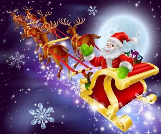 每年圣诞节,一位身穿红袍,头戴红帽的白胡子老头驾着鹿拉的雪橇从北方