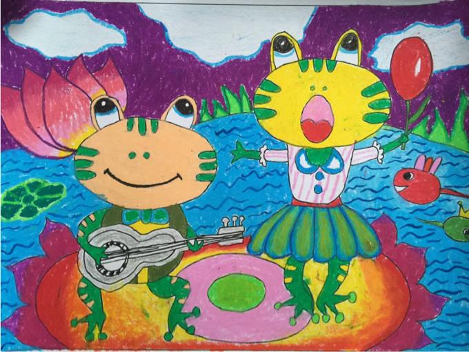 《青蛙小合唱》 一(12)班 蒋翘蔓-琼海市第一小学2016年元旦学生绘