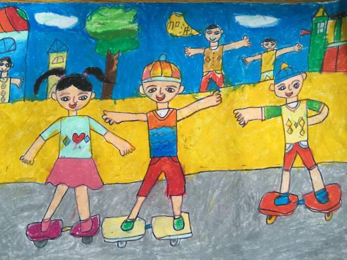 琼海市第一小学2016年元旦学生绘画比赛一等奖作品欣赏(一年级到六图片