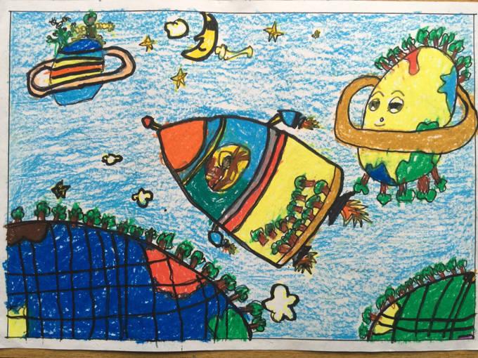 琼海市第一小学2016年元旦学生绘画比赛一等图片