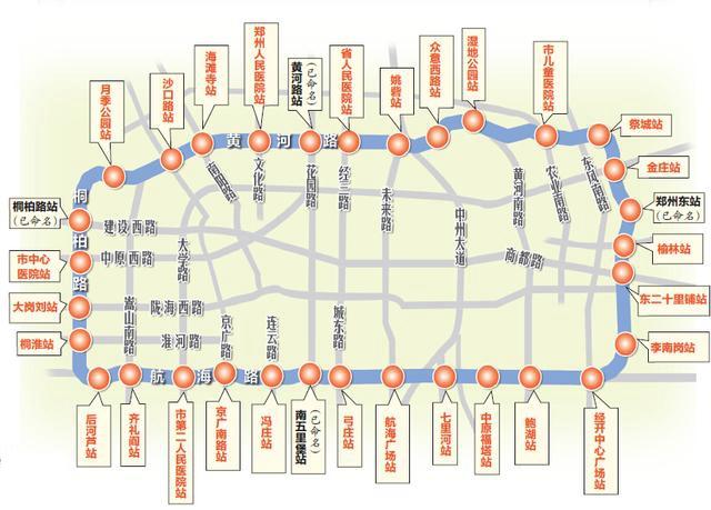郑州市地铁一号线二期年底将投入运营,五号线各站点名称确定