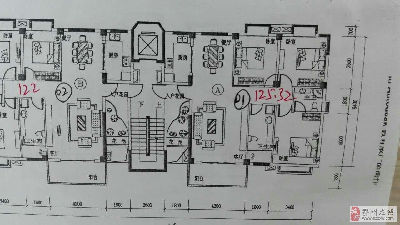 求11.5米乘11米的房子设计图,四室一厅带厨房卫生间,坐北朝南