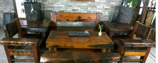 特价直销滁州古船木家具机枕木茶台