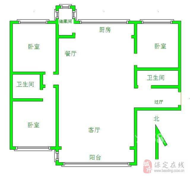 110平方米三房两厅房屋设计图展示