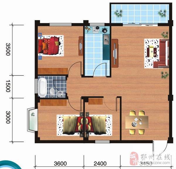A户型3室2厅1卫84.72平米