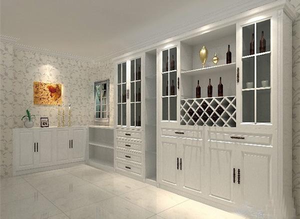 客厅欧式酒柜书柜一体图片