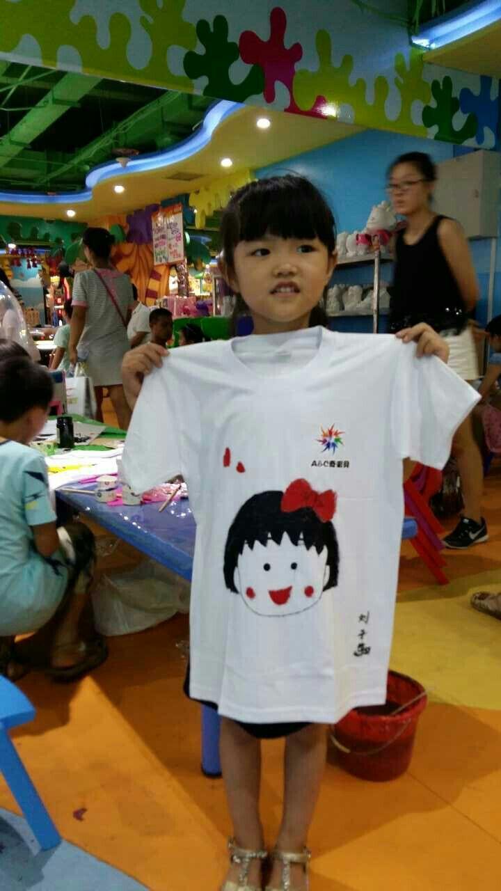 a&c奇彩贝儿童手绘t恤衫涂鸦
