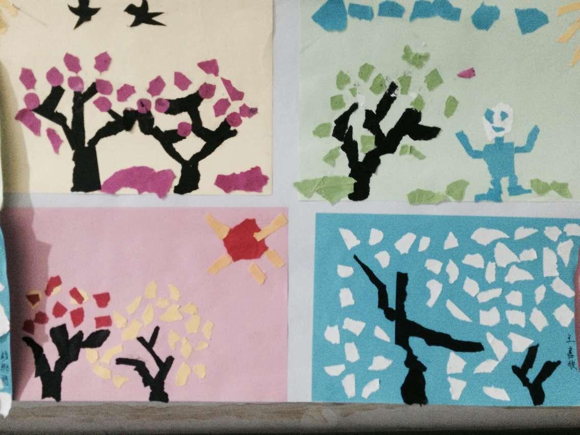撕纸画是一种选用各色彩纸,通过手撕,粘贴的办法而完成的画.